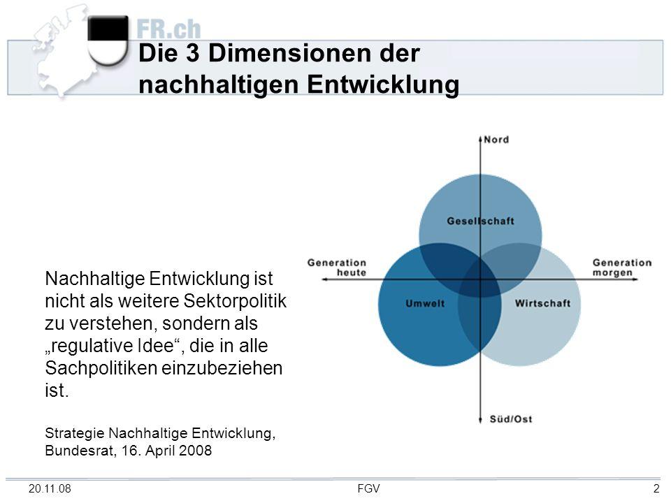 20.11.08 FGV 2 Die 3 Dimensionen der nachhaltigen Entwicklung Nachhaltige Entwicklung ist nicht als weitere Sektorpolitik zu verstehen, sondern als re