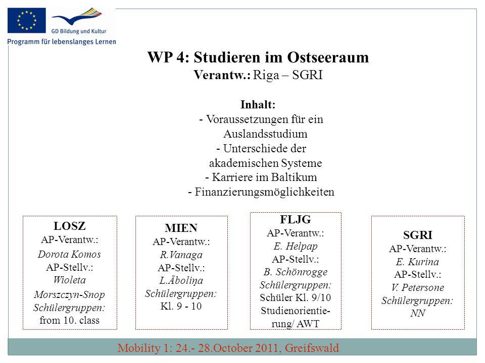 WP 4: Studieren im Ostseeraum Verantw.: Riga – SGRI Inhalt: - Voraussetzungen für ein Auslandsstudium - Unterschiede der akademischen Systeme - Karrie