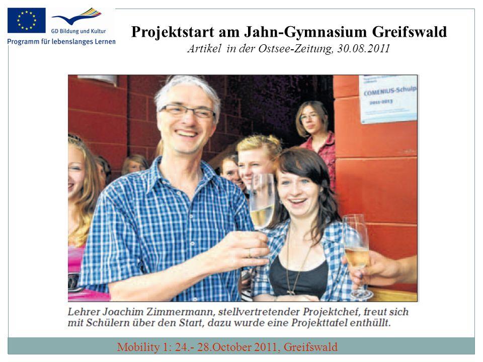 Projektstart am Jahn-Gymnasium Greifswald Artikel in der Ostsee-Zeitung, 30.08.2011