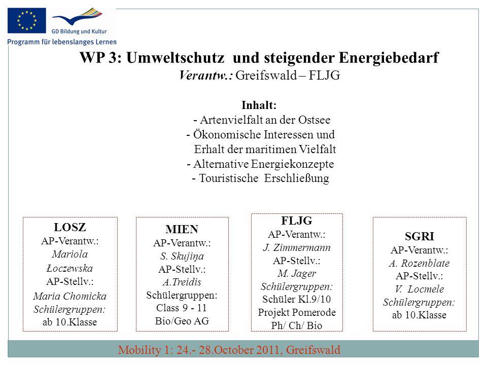 WP3: Umweltschutz und steigender Energiebedarf Verantw.: Greifswald – FLJG Ergebnisse und Produkte: Produkt: Das angestrebte Produkt ist eine Dokumentation zum Einsatz alternativer, umweltschonender Energiekonzepte in den Partnerregionen.
