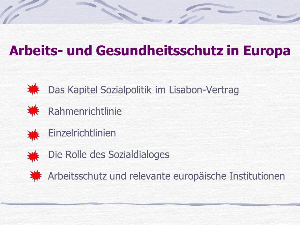 Arbeits- und Gesundheitsschutz in Europa Sozialpolitik: Kapitel 10 des Vertrages von Lisabon Bezug zur Charta der sozialen Grundrechte Bezug zur Charta der sozialen Grundrechte Artikel 153 fokussiert auf die Arbeitsbeziehungen Artikel 153 fokussiert auf die Arbeitsbeziehungen Mehrheitsentscheidung ist die Regel in manchen Dingen Einstimmigkeit Mehrheitsentscheidung ist die Regel in manchen Dingen Einstimmigkeit Löhne, das Koalitionsrecht und das Streikrecht sind ausgeschlossen Löhne, das Koalitionsrecht und das Streikrecht sind ausgeschlossen EBR Heidelberger – Steinbach 16.