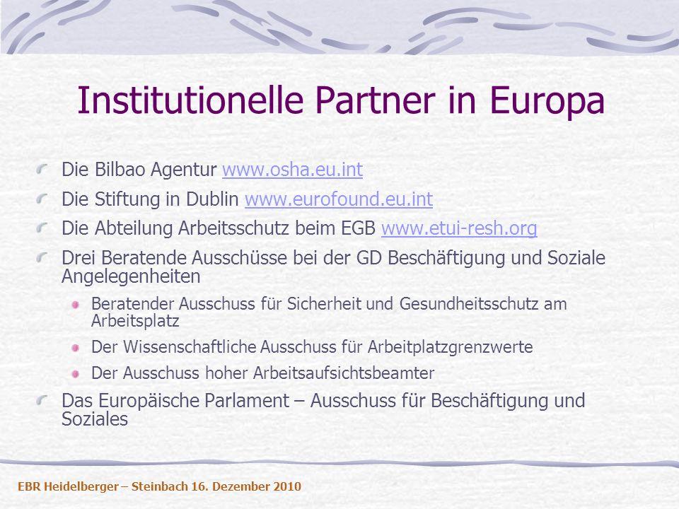 Institutionelle Partner in Europa Die Bilbao Agentur www.osha.eu.intwww.osha.eu.int Die Stiftung in Dublin www.eurofound.eu.intwww.eurofound.eu.int Di