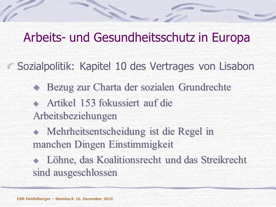 Arbeits- und Gesundheitsschutz in Europa Sozialpolitik: Kapitel 10 des Vertrages von Lisabon Artikel 156 listet unter anderem das Arbeitsrecht, die Berufsbildung und die soziale Sicherheit als Politikfelder auf Artikel 156 listet unter anderem das Arbeitsrecht, die Berufsbildung und die soziale Sicherheit als Politikfelder auf Koordinierung statt Rechtsetzung – Methode der offenen Koordinierung Koordinierung statt Rechtsetzung – Methode der offenen Koordinierung 157 fokussiert auf die Beseitigung der Lohndiskriminierung 157 fokussiert auf die Beseitigung der Lohndiskriminierung EBR Heidelberger – Steinbach 16.
