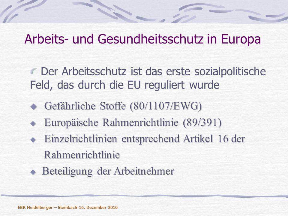 Arbeits- und Gesundheitsschutz in Europa Der Arbeitsschutz ist das erste sozialpolitische Feld, das durch die EU reguliert wurde Gefährliche Stoffe (8