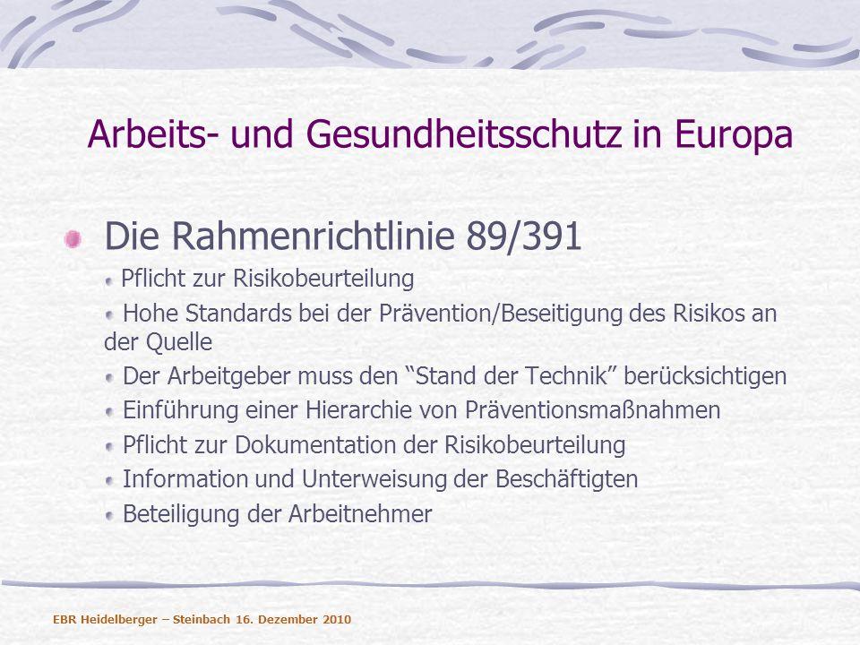 Arbeits- und Gesundheitsschutz in Europa Einzelrichtlinien Sicherheit- und Gesundheitsschutz für Arbeitsstätten (89/654) Sicherheitsanforderungen für den Gebrauch von Arbeitsmitteln (89/655) Richtlinie zu karzinogenen Arbeitsstoffen (90/394) Sicherheit- und Gesundheitsschutz auf mobilen und temporären Baustellen (92/57) Schutz vor den Risiken durch chemische Arbeitsstoffe (98/24) Manuelle Handhabung von Lasten (90/269) Richtlinie zu physikalischen Arbeitsagenzien (Lärm – 2003/10) Richtlinie zu persönlichen Schutzausrüstungen (89/656) EBR Heidelberger – Steinbach 16.