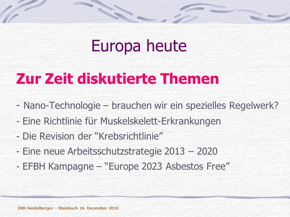 Europa heute Zur Zeit diskutierte Themen - Nano-Technologie – brauchen wir ein spezielles Regelwerk? - Eine Richtlinie für Muskelskelett-Erkrankungen