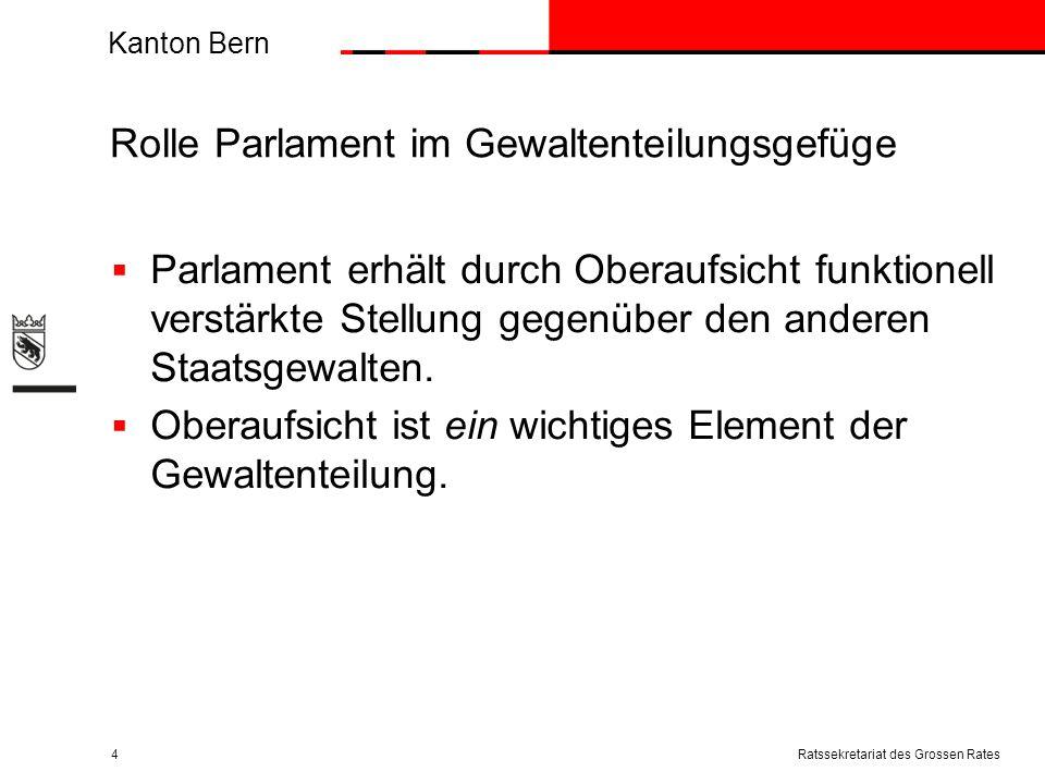 Kanton Bern Rolle Parlament im Gewaltenteilungsgefüge Parlament erhält durch Oberaufsicht funktionell verstärkte Stellung gegenüber den anderen Staatsgewalten.