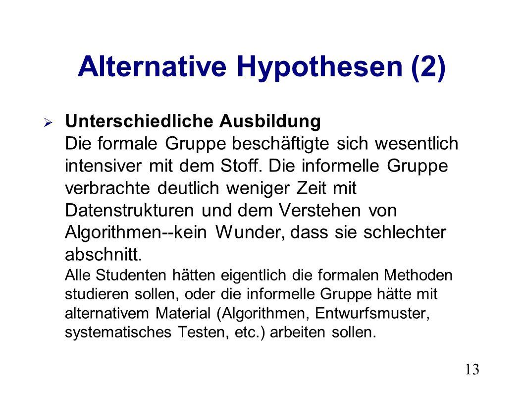 13 Alternative Hypothesen (2) Unterschiedliche Ausbildung Die formale Gruppe beschäftigte sich wesentlich intensiver mit dem Stoff.