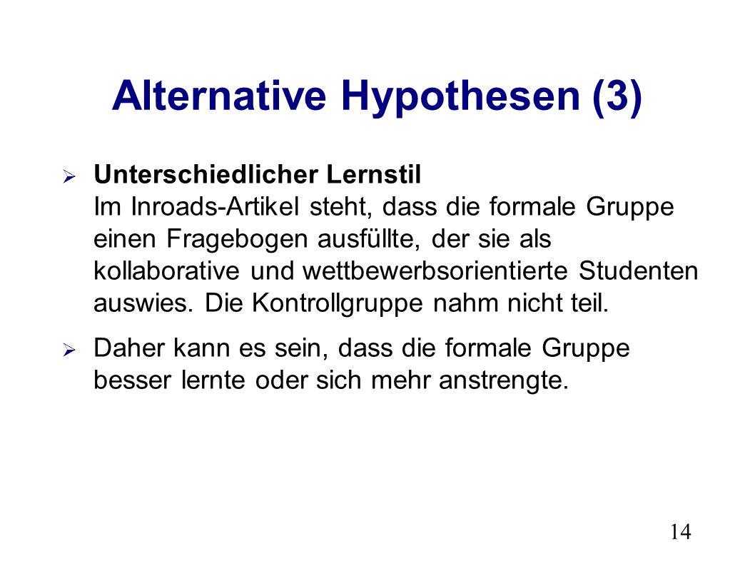 14 Alternative Hypothesen (3) Unterschiedlicher Lernstil Im Inroads-Artikel steht, dass die formale Gruppe einen Fragebogen ausfüllte, der sie als kollaborative und wettbewerbsorientierte Studenten auswies.
