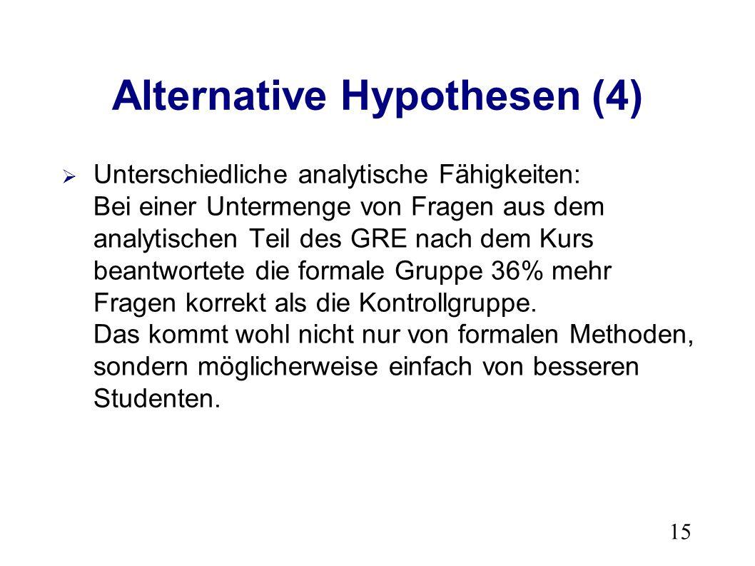 15 Alternative Hypothesen (4) Unterschiedliche analytische Fähigkeiten: Bei einer Untermenge von Fragen aus dem analytischen Teil des GRE nach dem Kurs beantwortete die formale Gruppe 36% mehr Fragen korrekt als die Kontrollgruppe.