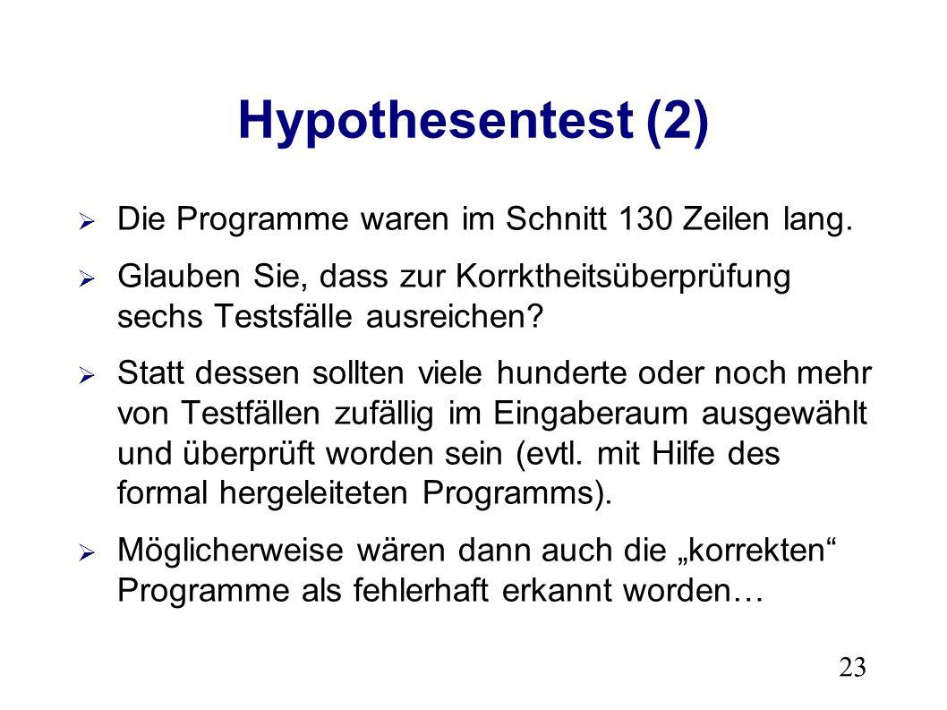 23 Hypothesentest (2) Die Programme waren im Schnitt 130 Zeilen lang.