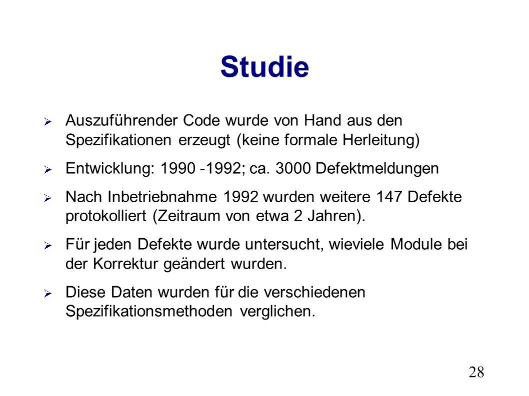 28 Studie Auszuführender Code wurde von Hand aus den Spezifikationen erzeugt (keine formale Herleitung) Entwicklung: 1990 -1992; ca.