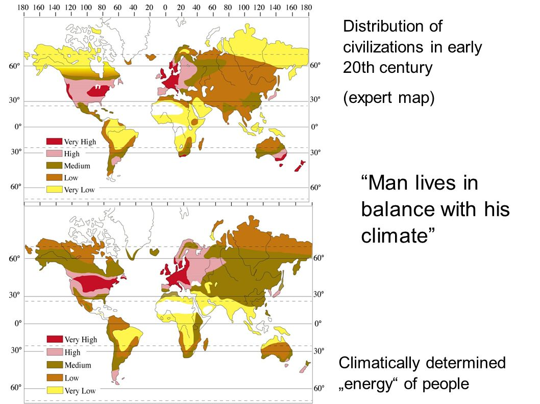 Distribution of civilizations in early 20th century (expert map) Climatically determined energy of people Man lives in balance with his climate
