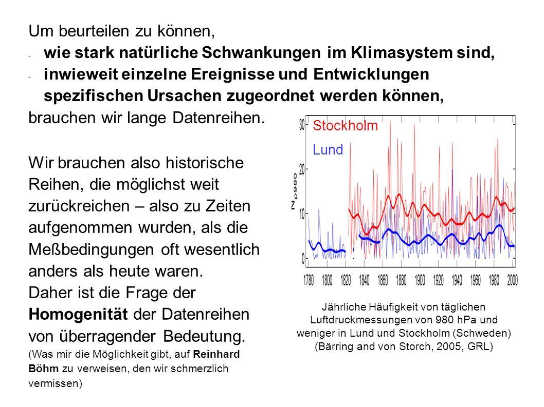 Jährliche Häufigkeit von täglichen Luftdruckmessungen von 980 hPa und weniger in Lund und Stockholm (Schweden) (Bärring and von Storch, 2005, GRL) Sto