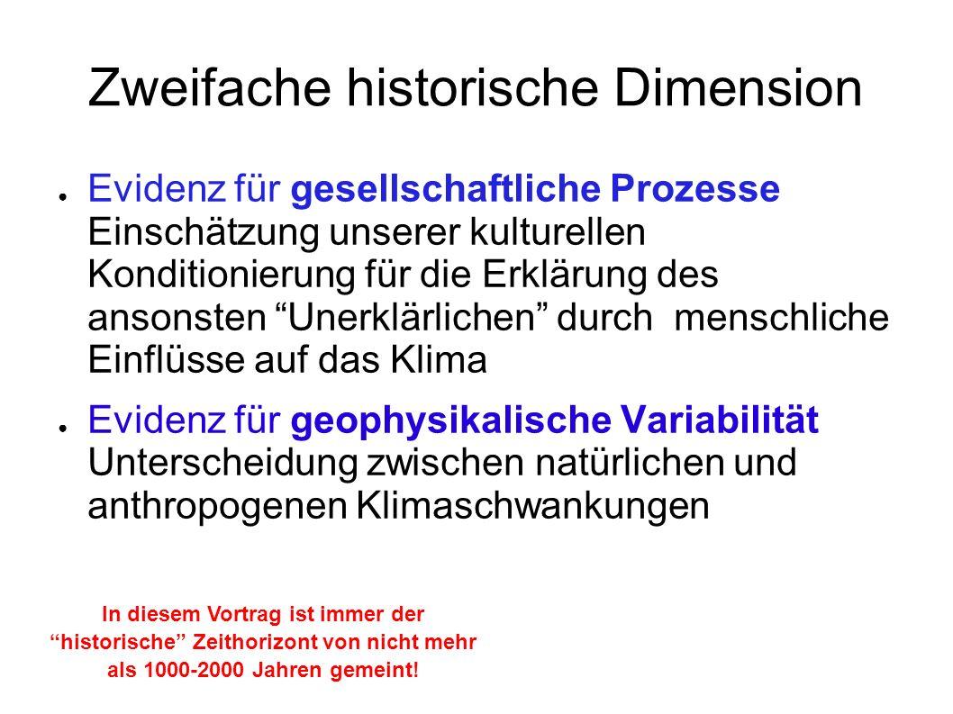 Zweifache historische Dimension Evidenz für gesellschaftliche Prozesse Einschätzung unserer kulturellen Konditionierung für die Erklärung des ansonste