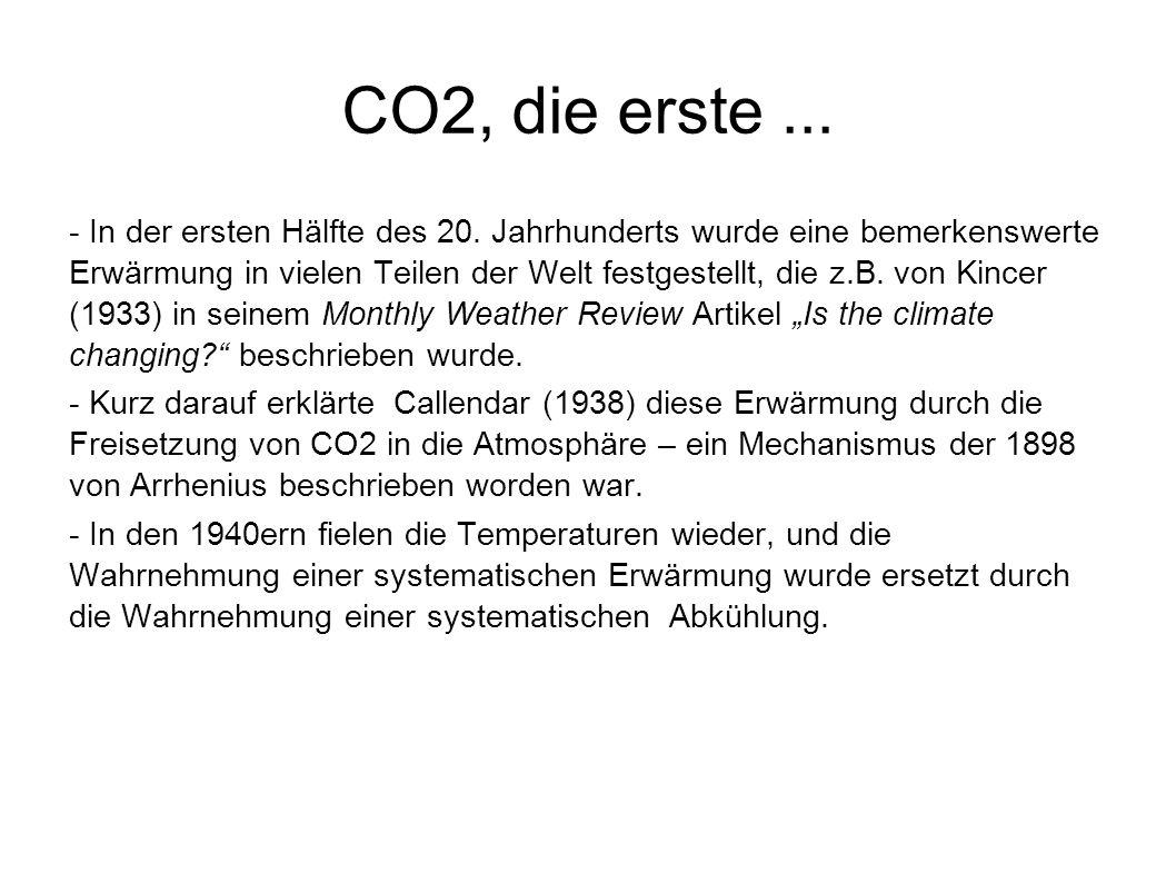 CO2, die erste... - In der ersten Hälfte des 20. Jahrhunderts wurde eine bemerkenswerte Erwärmung in vielen Teilen der Welt festgestellt, die z.B. von