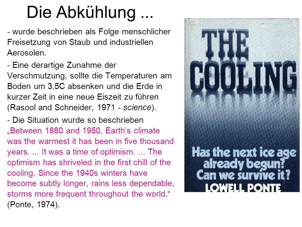 Die Abkühlung... - wurde beschrieben als Folge menschlicher Freisetzung von Staub und industriellen Aerosolen. - Eine derartige Zunahme der Verschmutz