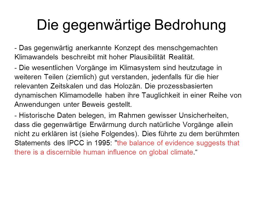 - Das gegenwärtig anerkannte Konzept des menschgemachten Klimawandels beschreibt mit hoher Plausibilität Realität. - Die wesentlichen Vorgänge im Klim