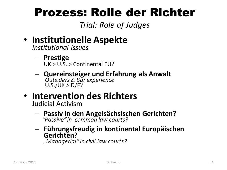 Prozess: Rolle der Richter Trial: Role of Judges Institutionelle Aspekte Institutional issues – Prestige UK > U.S. > Continental EU? – Quereinsteiger