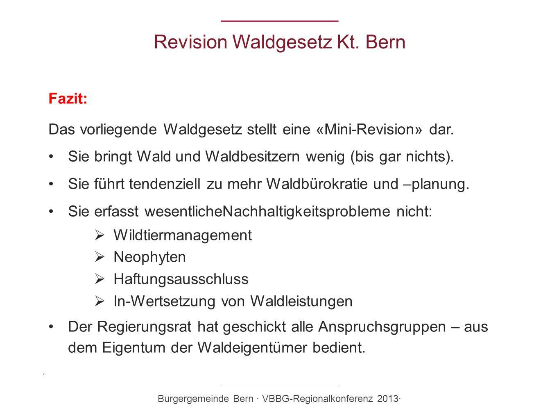 Revision Waldgesetz Kt. Bern Fazit: Das vorliegende Waldgesetz stellt eine «Mini-Revision» dar. Sie bringt Wald und Waldbesitzern wenig (bis gar nicht
