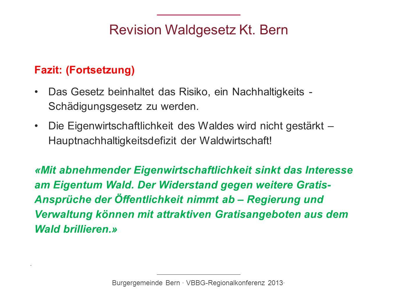 Revision Waldgesetz Kt. Bern Fazit: (Fortsetzung) Das Gesetz beinhaltet das Risiko, ein Nachhaltigkeits - Schädigungsgesetz zu werden. Die Eigenwirtsc