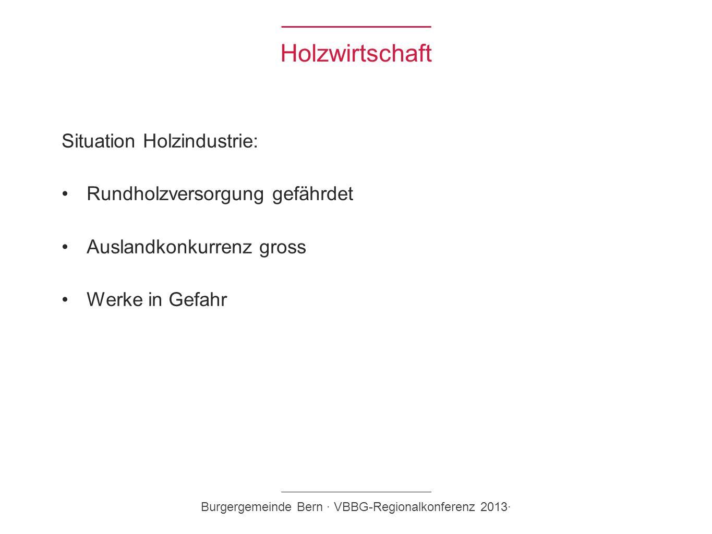 Holzwirtschaft Situation Holzindustrie: Rundholzversorgung gefährdet Auslandkonkurrenz gross Werke in Gefahr Burgergemeinde Bern · VBBG-Regionalkonfer