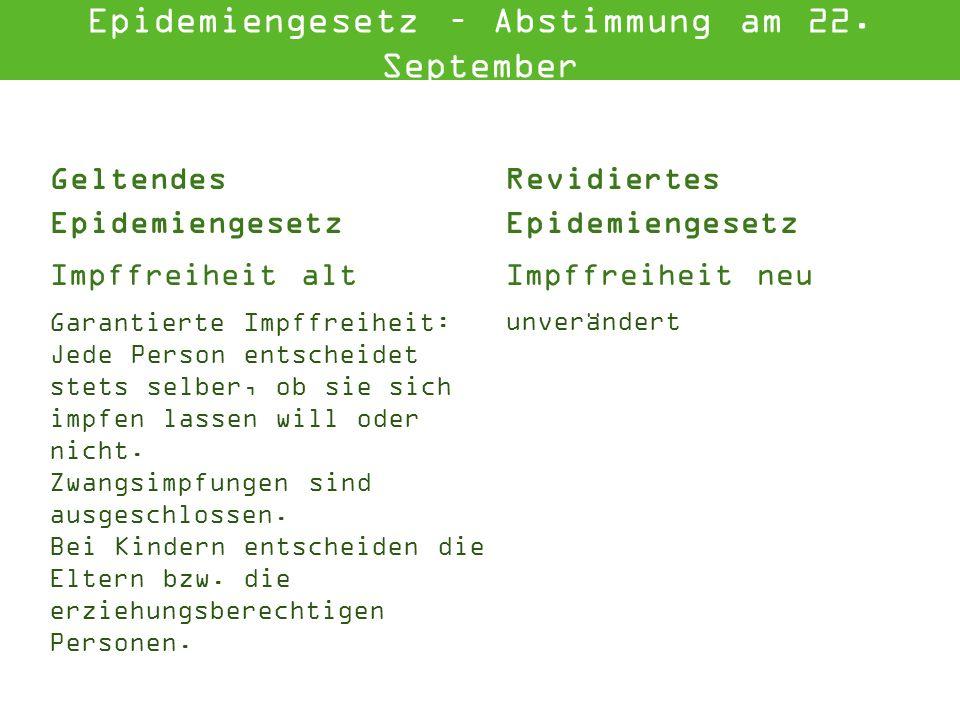 Geltendes Epidemiengesetz Revidiertes Epidemiengesetz Vollst.