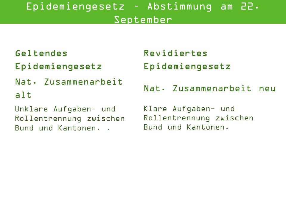 Geltendes Epidemiengesetz Revidiertes Epidemiengesetz Nat.