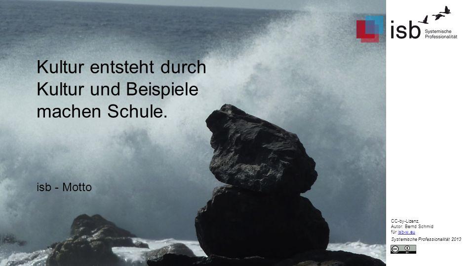Kultur entsteht durch Kultur und Beispiele machen Schule. isb - Motto CC-by-Lizenz, Autor: Bernd Schmid für isb-w.euisb-w.eu Systemische Professionali