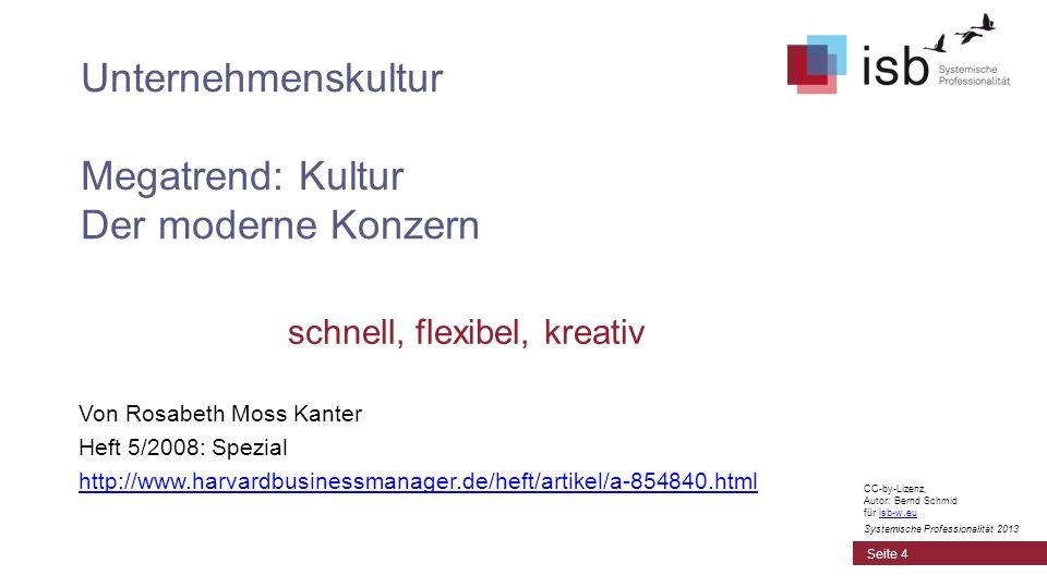 schnell, flexibel, kreativ Von Rosabeth Moss Kanter Heft 5/2008: Spezial http://www.harvardbusinessmanager.de/heft/artikel/a-854840.html Unternehmensk