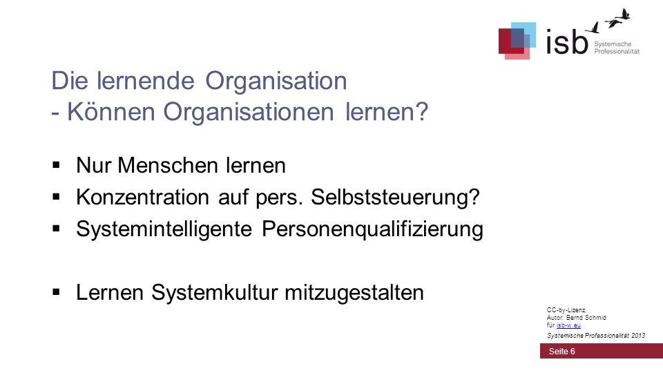 Die lernende Organisation - Können Organisationen lernen? Nur Menschen lernen Konzentration auf pers. Selbststeuerung? Systemintelligente Personenqual