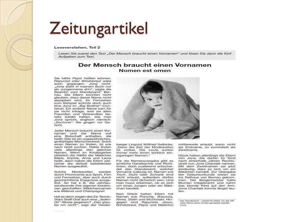 Zeitungsartikel: L ösungsweg Schauen Sie Überschrift und Bild an.