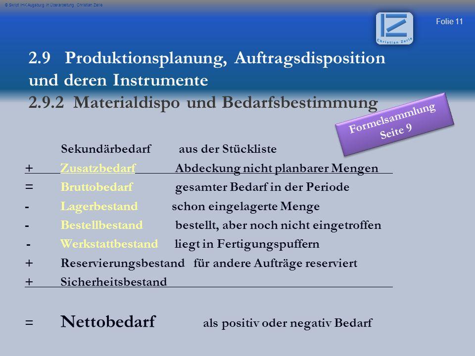 Folie 11 © Skript IHK Augsburg in Überarbeitung Christian Zerle 2.9 Produktionsplanung, Auftragsdisposition und deren Instrumente 2.9.2 Materialdispo