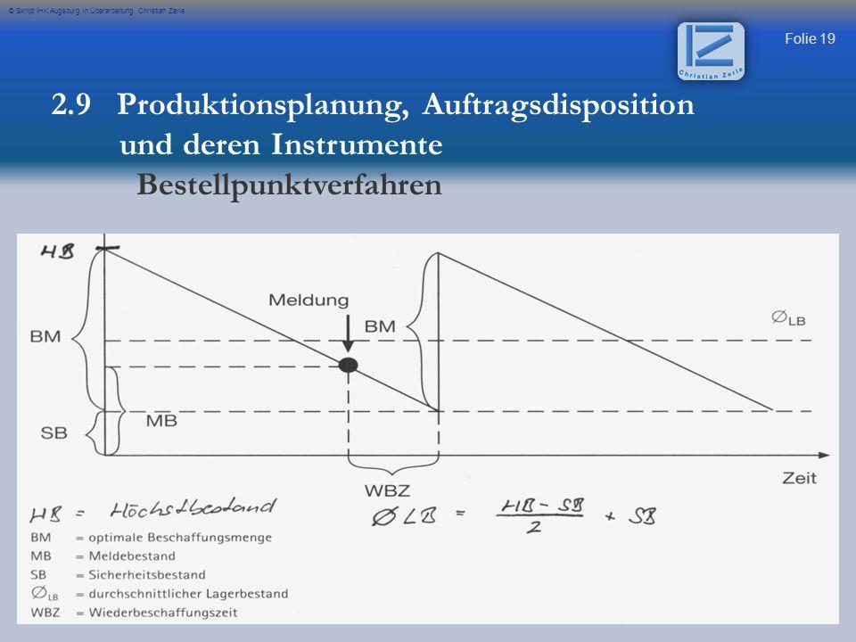 Folie 19 © Skript IHK Augsburg in Überarbeitung Christian Zerle 2.9 Produktionsplanung, Auftragsdisposition und deren Instrumente Bestellpunktverfahre