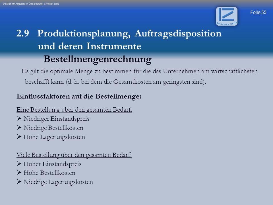 Folie 55 © Skript IHK Augsburg in Überarbeitung Christian Zerle Es gilt die optimale Menge zu bestimmen für die das Unternehmen am wirtschaftlichsten