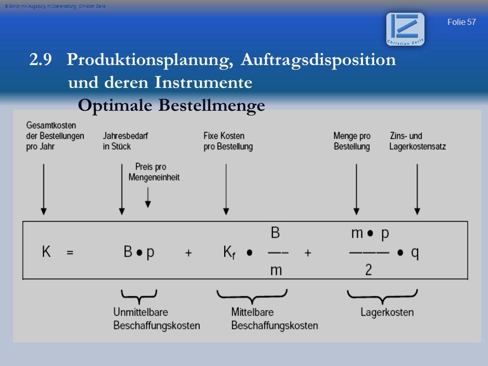 Folie 57 © Skript IHK Augsburg in Überarbeitung Christian Zerle 2.9 Produktionsplanung, Auftragsdisposition und deren Instrumente Optimale Bestellmeng