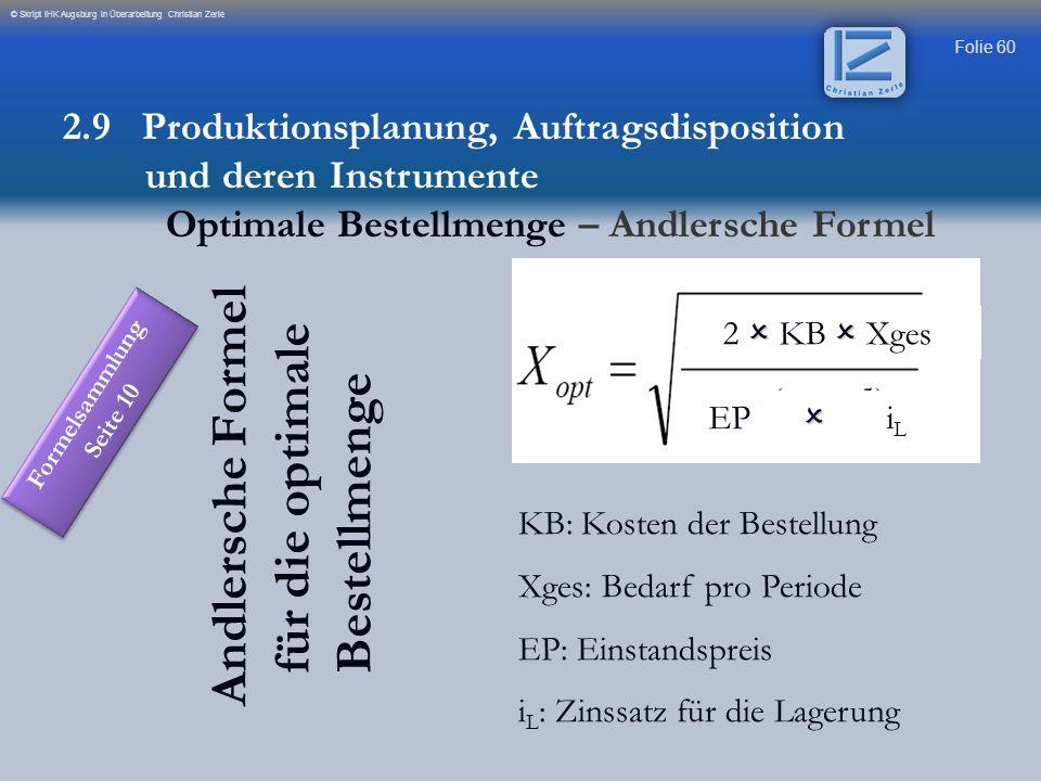 Folie 60 © Skript IHK Augsburg in Überarbeitung Christian Zerle Andlersche Formel für die optimale Bestellmenge 2 KB Xges EP i L KB: Kosten der Bestel