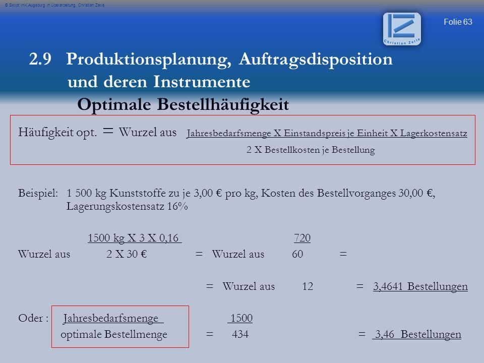 Folie 63 © Skript IHK Augsburg in Überarbeitung Christian Zerle Häufigkeit opt. = Wurzel aus Jahresbedarfsmenge X Einstandspreis je Einheit X Lagerkos