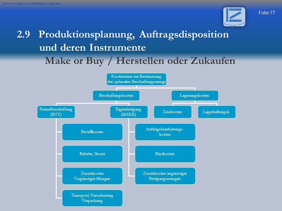 Folie 77 © Skript IHK Augsburg in Überarbeitung Christian Zerle Kostenarten zur Bestimmung der optimalen Beschaffungsmenge BeschaffungskostenLagerungs