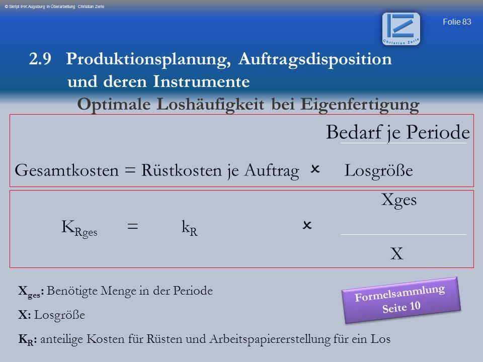 Folie 83 © Skript IHK Augsburg in Überarbeitung Christian Zerle Bedarf je Periode Gesamtkosten = Rüstkosten je Auftrag Losgröße Xges K Rges = k R X X