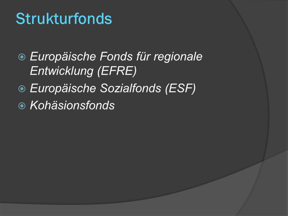 Strukturfonds Europäische Fonds für regionale Entwicklung (EFRE) Europäische Sozialfonds (ESF) Kohäsionsfonds