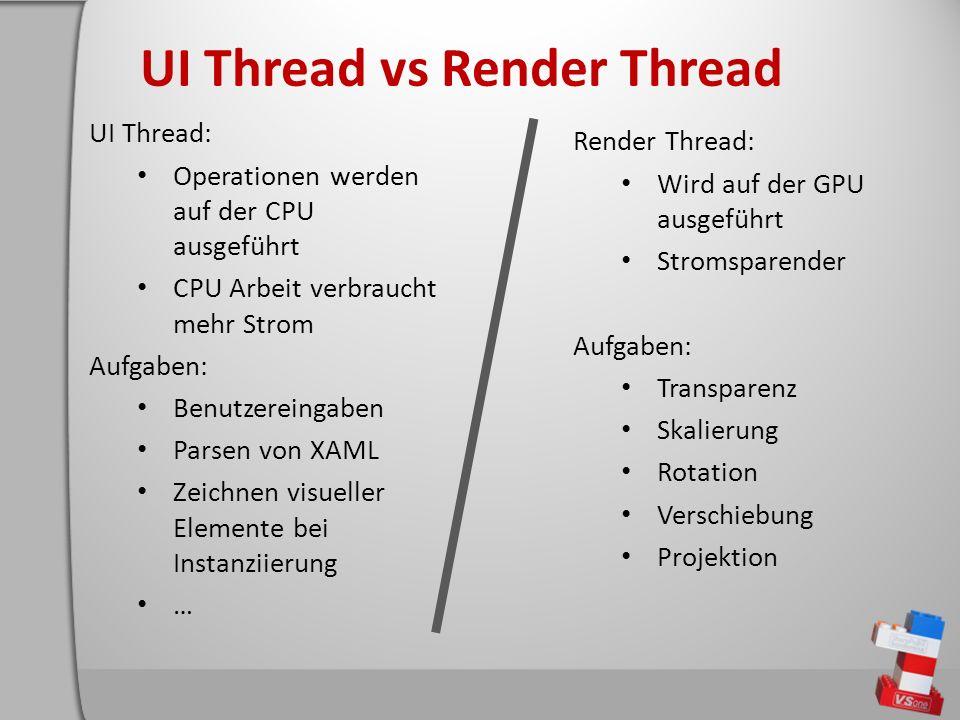 UI Thread vs Render Thread UI Thread: Operationen werden auf der CPU ausgeführt CPU Arbeit verbraucht mehr Strom Aufgaben: Benutzereingaben Parsen von XAML Zeichnen visueller Elemente bei Instanziierung … Render Thread: Wird auf der GPU ausgeführt Stromsparender Aufgaben: Transparenz Skalierung Rotation Verschiebung Projektion