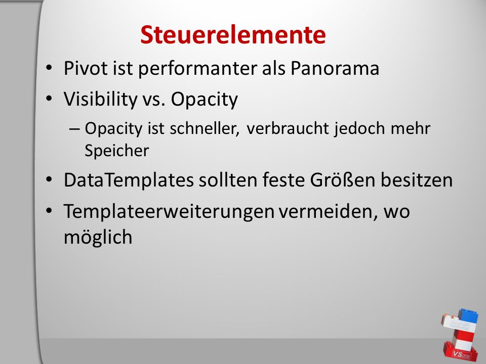 Steuerelemente Pivot ist performanter als Panorama Visibility vs.