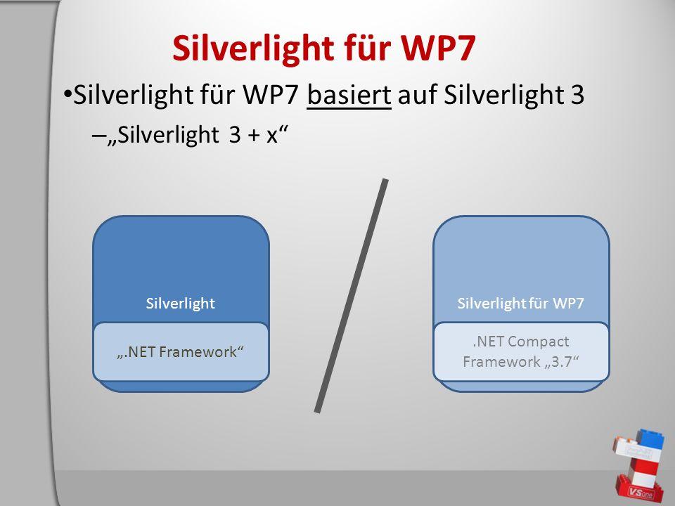 Silverlight für WP7 Silverlight für WP7 basiert auf Silverlight 3 – Silverlight 3 + x Silverlight.NET Framework Silverlight für WP7.NET Compact Framework 3.7