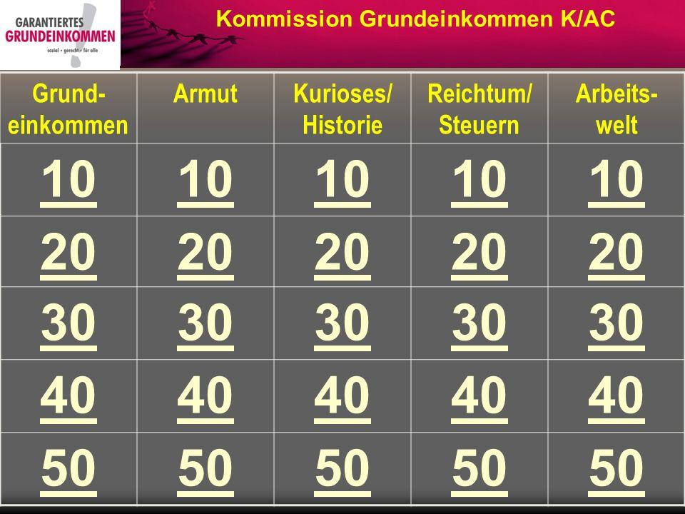 Grund- einkommen ArmutKurioses/ Historie Reichtum/ Steuern Arbeits- welt 10 20 30 40 50 Kommission Grundeinkommen K/AC