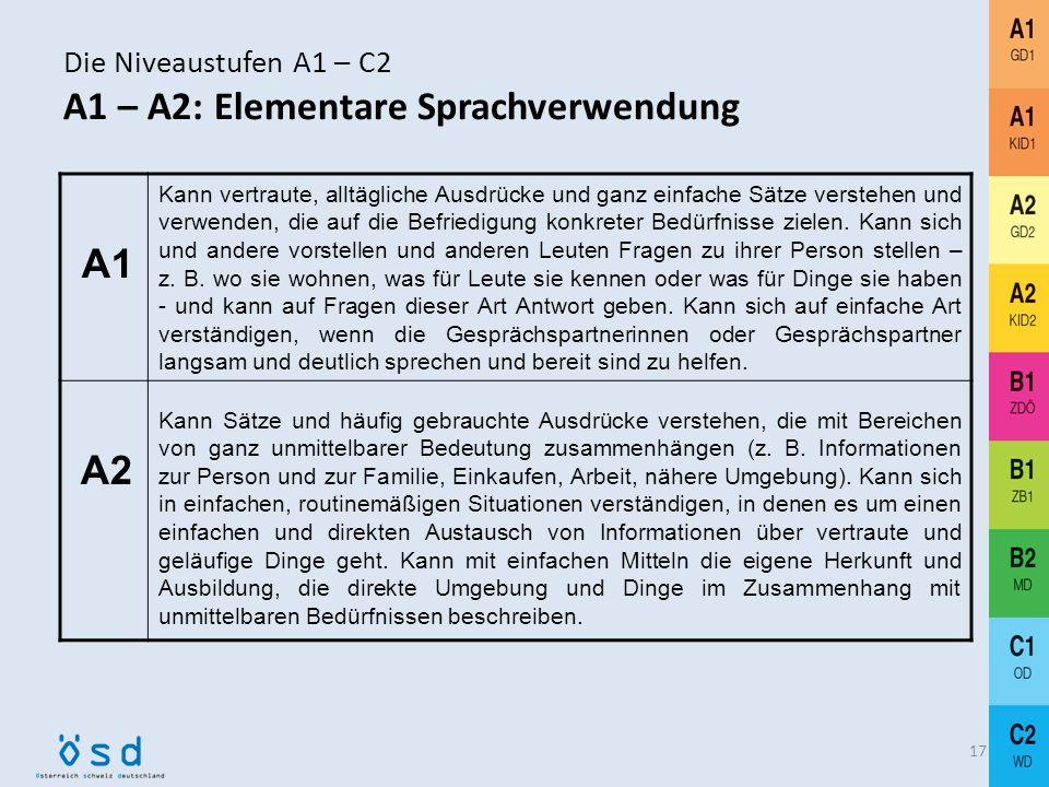 Niveaustufen A1 – C2 AGrundstufe Deutsch A1 + A2: Elementare Sprachverwendung BMittelstufe Deutsch B1 + B2: Selbständige Sprachverwendung COberstufe D