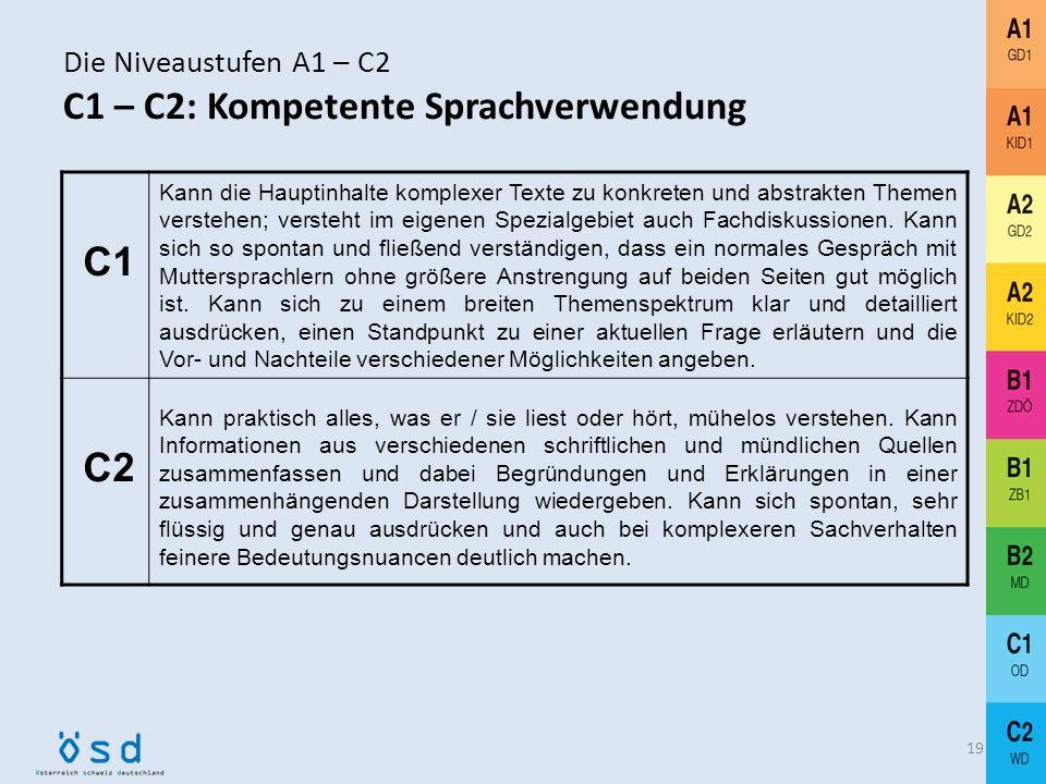 Die Niveaustufen A1 – C2 B1 – B2: Selbständige Sprachverwendung 18 B1 Kann die Hauptpunkte verstehen, wenn klare Standardsprache verwendet wird und we