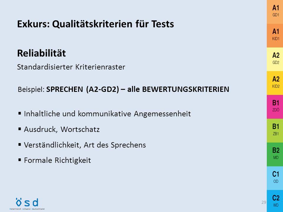 Exkurs: Qualitätskriterien für Tests 28 Herkömmliche Prüfungssituation Stark gelenkte Aufgaben haben eine geringere Validität. Prüfer/in 1Kandidat/inP