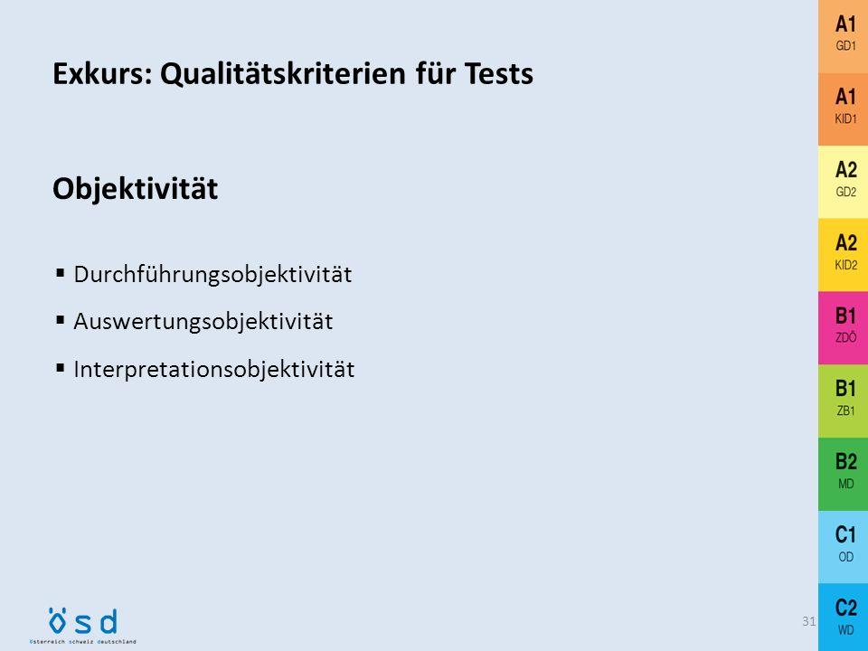 Exkurs: Qualitätskriterien für Tests 30 Reliabilität Standardisierter Kriterienraster Beispiel: SPRECHEN (A2 GD2) – ein BEWERTUNGSKRITERIUM Inhaltlich