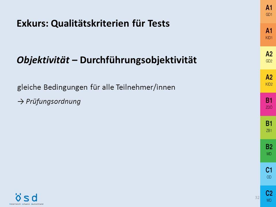 Exkurs: Qualitätskriterien für Tests 31 Objektivität Durchführungsobjektivität Auswertungsobjektivität Interpretationsobjektivität